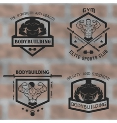Emblems with posing bodybuilder vector image vector image