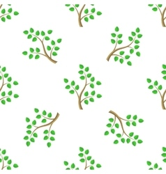 Green Cartoon Tree Leaves Seamless Background vector image