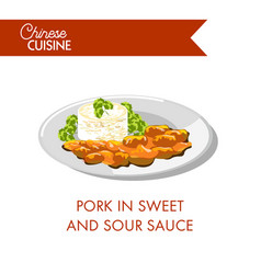 pork in sweet and sour sauce on plate isolated vector image vector image