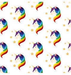 unicorn with closed eyes rainbow mane seamless vector image