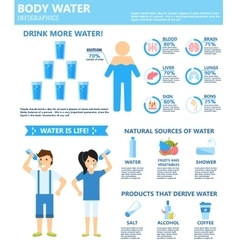 Drink more body water infographics natural sources vector image vector image