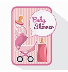 Bottle stroller and baby bib design vector image vector image