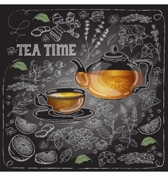 card with cup pot herb and text Tea Time vector image
