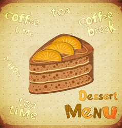 Dessert Menu on Retro background vector image