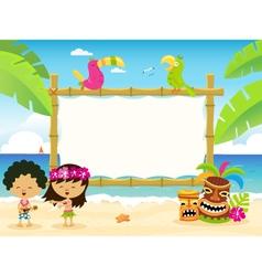 Hawaiian billboard with kids vector