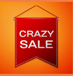 Red pennant with inscription crazy sale over a vector