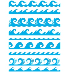 seamless ocean wave set vector image vector image