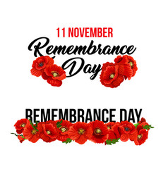 11 november remembrance day poppy icons vector image