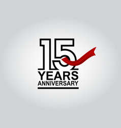 15 years anniversary logotype with black outline vector