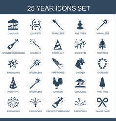 25 year icons vector
