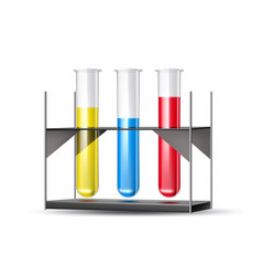 3d chemical laboratory tubes blue liquid vector image