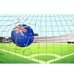 A ball hitting a goal with the New Zealand flag vector
