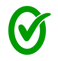 approved ok icon oval letter o with green check vector image