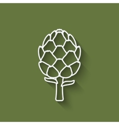 artichoke symbol on green background vector image