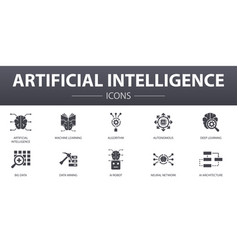 Artificial intelligence simple concept icons set vector
