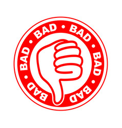bad thumbs down stamp vector image