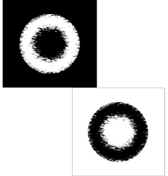 Black and white rings in grunge style vector