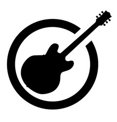 Black ink stamp semi guitar vector