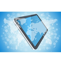 Blue Background with World Map and Tablet Computer vector image