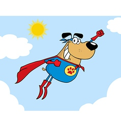 Brown Super Hero Dog Flying In Sky vector