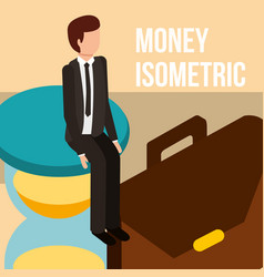 businessman on hourglass and briefcase money vector image