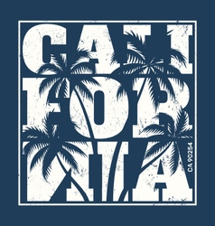 California tee design with palms vector