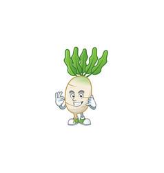 Call me cool daikon cartoon character design vector