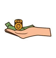 Cartoon hand holds bill coin money vector