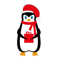cartoon new year holiday penguin with a gift vector image