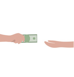 cash in hand isolated on a white background vector image
