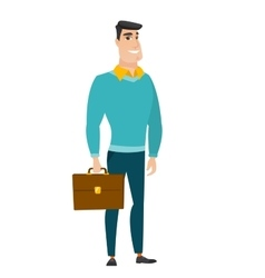Caucasian business man holding briefcase vector image