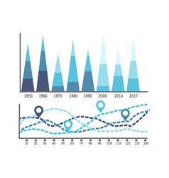 chart with timeline and information of years data vector image