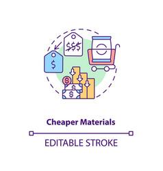 Cheaper materials concept icon vector