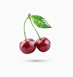 Cherries in polygonal style vector