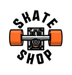 Color vintage skate shop emblem vector