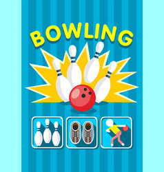 Colorful sport bowling clup poster vector