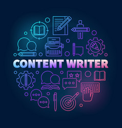 Content writer colored round line vector