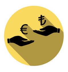 Currency exchange from hand to hand euro and lira vector