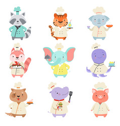 Cute animals in chef uniform set cartoon pets vector