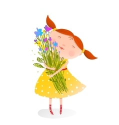 Cute girl with bouquet of flowers vector