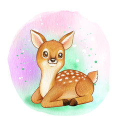 Cute sweet watercolor fawn vector