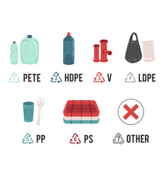 Different types of plastic recycling symbols and vector