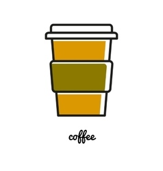 Disposable chot coffee cup line icon vector image