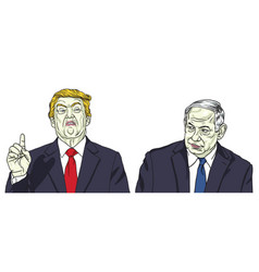 Donald trump benjamin netanyahu portrait vector