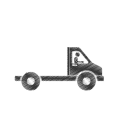 draiwng man towing truck service figure pictogram vector image
