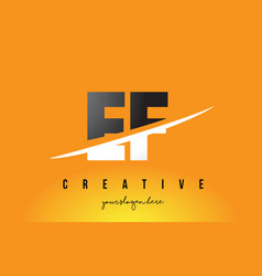 ef e f letter modern logo design with yellow vector image