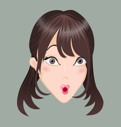 Emoticon asia girl surprise vector