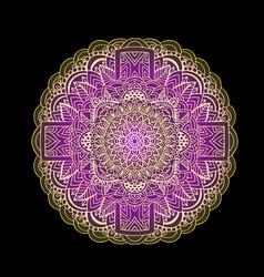 Ethnic pattern authentic purple mandala print on vector