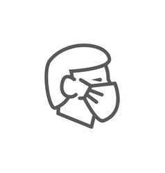 Face mask line icon on white background vector