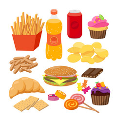 Fast foods flat group of vector